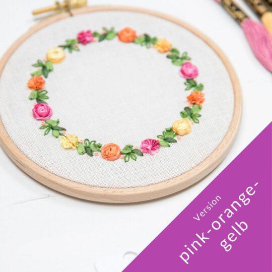 Blumen sticken mit Seidenbändern | Zur Lila Pampelmuse