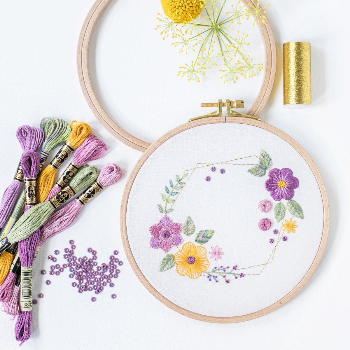 Blumen sticken Kurs für Anfänger auf stickenlernen.com
