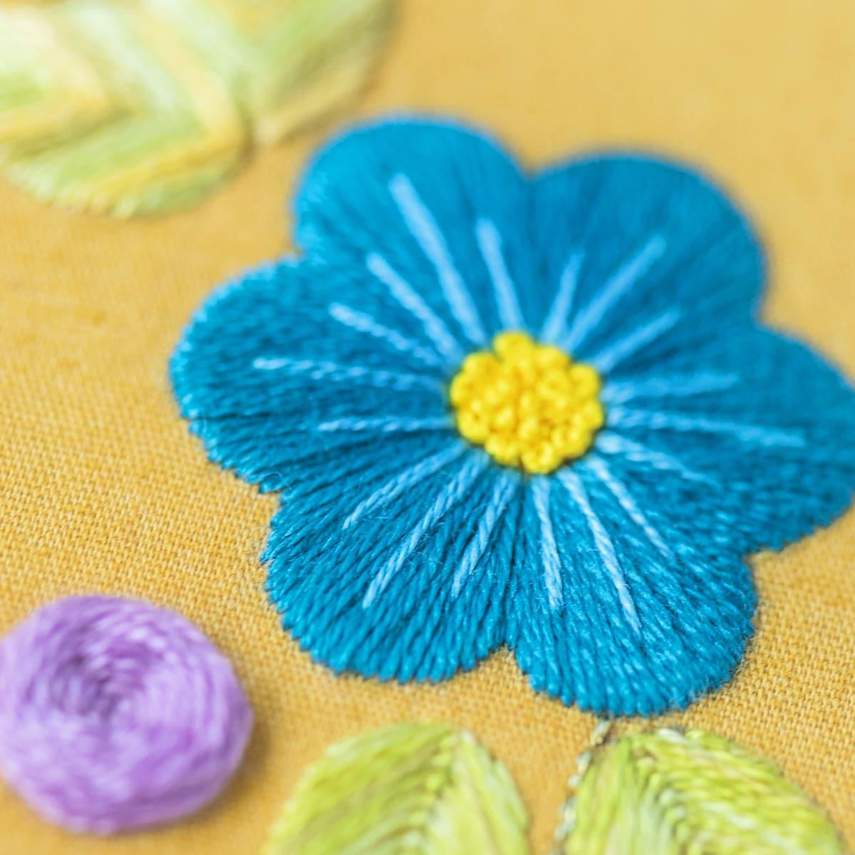 Bluen sticken mit Plattstich - so bekommst du ihn perfekt hin!