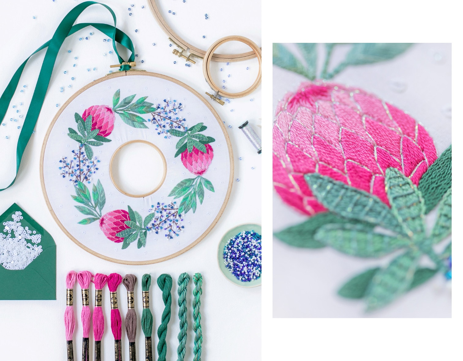 Stickkurs Weihnachten: Kranz sticken mit Perlen, Blumen und Blättern
