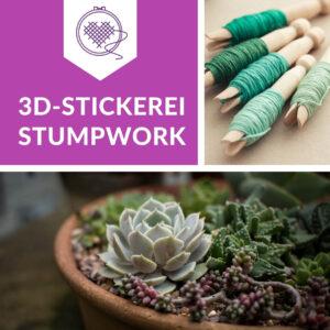 Stumpwork Stickerei im Online Kurs lernen